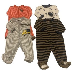 GUC 4X Carter's Pre-Owned Newborn Rompers